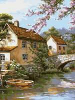 фото Картина по номерам Белоснежка «Деревенька у канала»