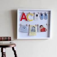фото Панно с зажимами для 12 фотографий clothesline белое