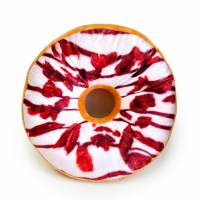 фото Подушка-пончик с коричнево-белой глазурью 35 см