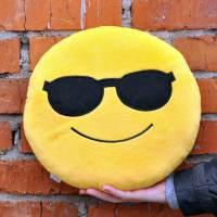фото Подушка Emoji «Sunglasses Emoji» 27 см ярко-желтая
