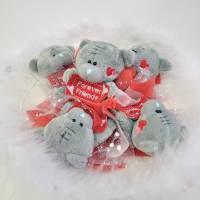 фото Букет из игрушек Тедди Forever friends белый с пухом