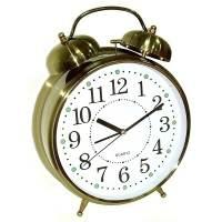 фото Часы Будильник ГИГАНТ бронзового цвета с подсветкой