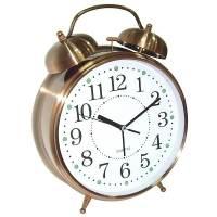 фото Часы Будильник ГИГАНТ медного цвета с подсветкой