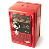 фото Копилка сейф с ключом Радио-ретро красная