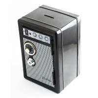 фото Копилка сейф с ключом Радио-ретро черная