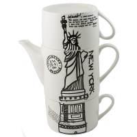 фото Чайник с двумя кружками Нью-Йорк,фарфор