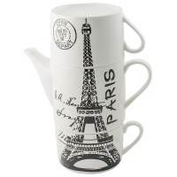 фото Чайник с двумя кружками Париж,фарфор