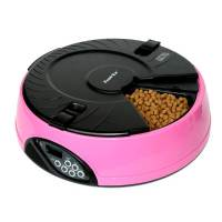 фото Автоматическая кормушка на 6 кормлений для кошек и мелких пород собак, розовая