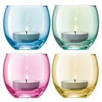фото Набор из 4 подсвечников для чайных свечей Polka пастель