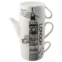 фото Чайник с двумя кружками Лондон, фарфор
