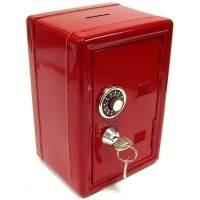 фото Копилка сейф с ключом красная металл
